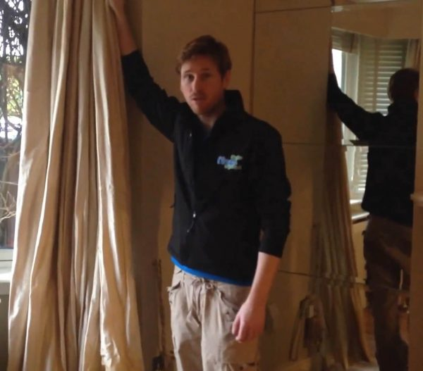 Carl doing a demo on cleaning some curtains in Dublin 4